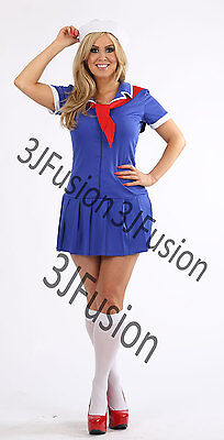 Ladies Sailor Girl Fancy Dress Costume Nautical Outfit Hen Party FREE POST (AK) • 12£