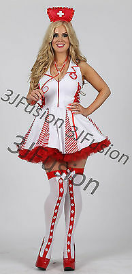 Ladies Sexy White/Red Nurse Costume Outfit Hen Party Fancy Dress FREE POST (AR) • 18£