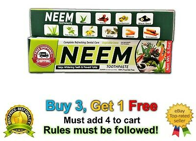 Neem Toothpaste (5 In 1) Big 6.5 Oz 100% Fluoride Free Oral Care 1 Tube NEW Lot • 5£
