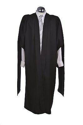 Masters Graduation Gown University Fully Fluted Academic Black Robe MA  • 59.99£