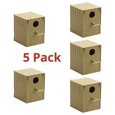 £22.95 • Buy 5 X Budgie Nest Box Plastic With Perch & Hooks To Front & Rear Aviary Cage Boxes