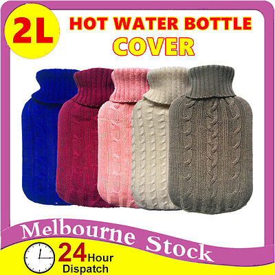 AU7.09 • Buy 2.0 Litre 2L Hot Water Bottle Cover Only Warmer Heat Soft Bag Large Grey Knitted