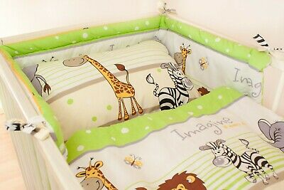 2-10 Pcs Baby Bedding Set 120x90 Or 135x100-Antiallergic- Safari Green -CURTAINS • 14.99£