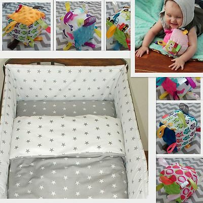 2-7 Set Baby Bedding 120x90/135x100/150x120 Reversible Stars White/Grey Curtains • 14.99£
