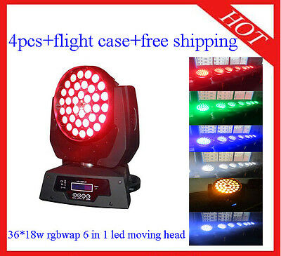 £1210 • Buy 36*18W RGBWAP 6 In 1 Led Moving Head Zoom Wash Light In Case 4pcs Free Shipping