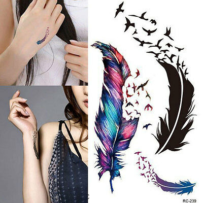 £1.99 • Buy Temporary Tattoo Body Art Colorful Birds Feather Tattoo Stickers UK