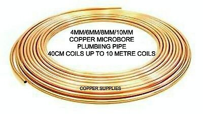Copper Micro Bore Pipe/tube4mm/6mm/8mm/10mm Plumbing/lpg Oil/brass Compression • 7.99£