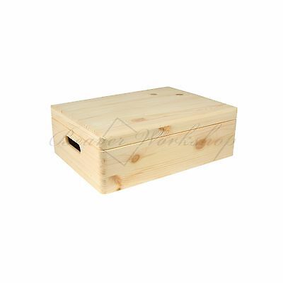 Large Wooden Box Keepsake Box, Storage Box With Lid 40x30x13cm • 18£