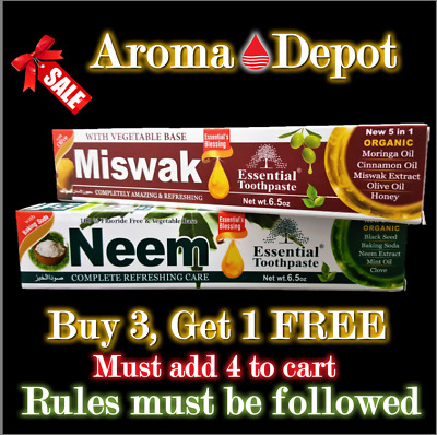 £70.79 • Buy Neem & Miswak Essential Toothpaste New 5 In 1 FREE SHIPPING Oral Care 2 Tubes