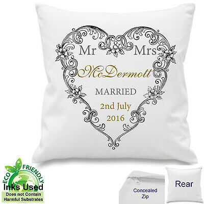Personalised Mr Mrs Wedding Day Anniversary Gift Heart Canvas Cotton Cushion 18  • 10.50£