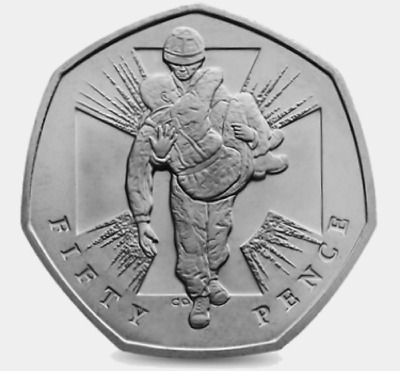 2006 50P COIN RARE HEROIC ACT MAN 60 YEARS SINCE END OF WW2 FIFTY PENCE D • 4£