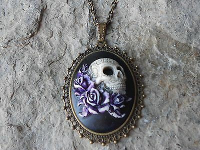 $25.06 • Buy --skull And Roses (hand Painted) Cameo Necklace!!! Quality!!! Grateful Dead