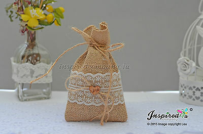 Hessian Favor Bags Wedding 25 X Burlap Wide Lace Love Heart Goody Fillers Thanks • 33.99£