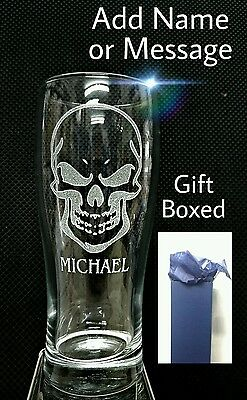 Personalised Engraved Skull Pint Glass With Your Name / Message Gift Birthday • 9.95£