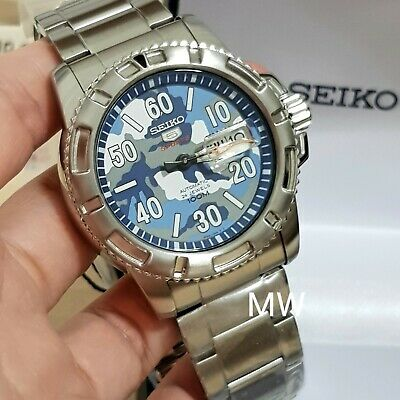 $ CDN324.31 • Buy Seiko 5 Sports 100m Military Dail Men's Watch SRP223K1 Day Date 24 Jewels New