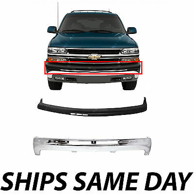 $250.99 • Buy NEW Steel Front Bumper Kit W/ Upper Cover Pad For 2000-2006 Chevy Suburban Tahoe