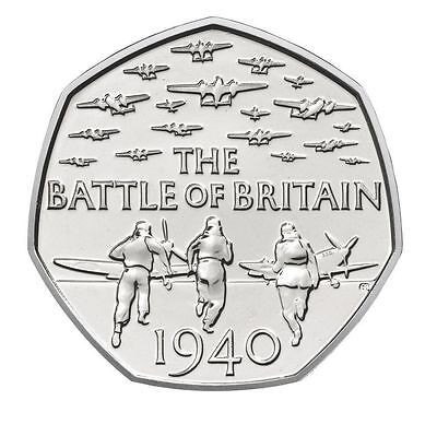 2015 50P COIN BATTLE OF BRITAIN 5TH PORTRAIT FIFTY PENCE ALMOST UNCIRCULATED (k) • 6.97£