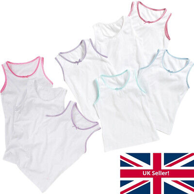 Younger Girls Just Essentials 3 Or 5 Pk Cotton Vests Back To School White 2-10yr • 7.99£
