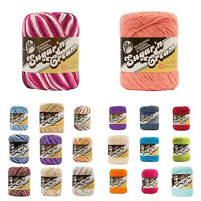 AU6 • Buy LILY Sugar & Cream 100%  Cotton Yarn - 30+ COLOURS -Prints & Solid Colours