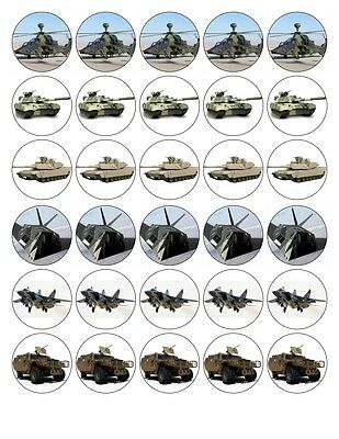 £4.39 • Buy 30 Military Army Tank Helicopter Edible Fondant/wafer Fairy Cup Cake Toppers