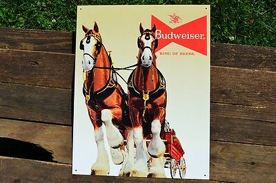 $ CDN23.74 • Buy Budweiser Clydesdales Tin Metal Sign - Anheuser Busch - King Of Beers - Bud