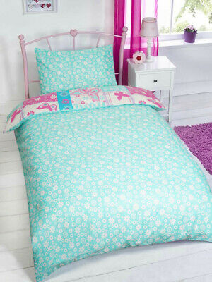 £10.99 • Buy Butterfly Patchwork Design Pink Turquoise Girls Duvet Cover Bedding Set