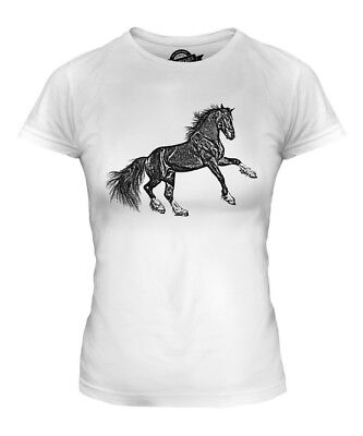 Rearing Horse Sketch Ladies Printed T-shirt Top Equestrian Riding Rider Gift • 16£