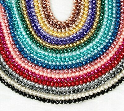 Glass Pearl Beads 4,6,8,10,12mm -{[Buy 3 Get 3 Free]}- Jewellery Making Crafts • 1.25£