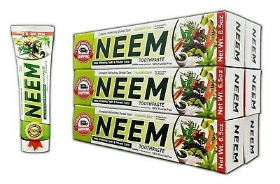 Neem Toothpaste 6 Pack 10 IN 1 Formula 100% Fluoride Free Lot 6 Vegetable Base • 14.20£