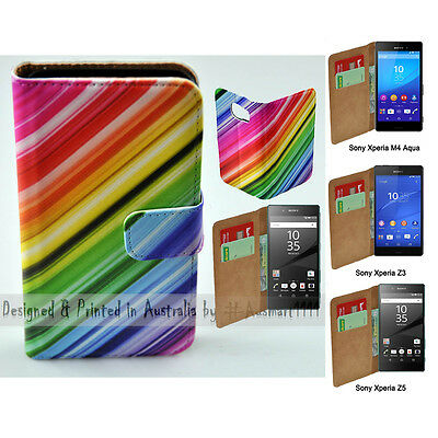AU14.98 • Buy For Sony Xperia Series Colour Streak Theme Print Wallet Mobile Phone Case Cover