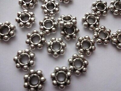 £2.39 • Buy Heavy Duty 3mm Hole Pewter Daisy Beads 8mm X 2.5mm Thick Antique Silver