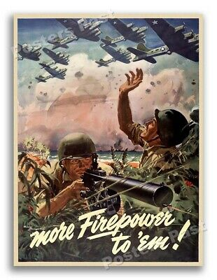 $11.95 • Buy 1940s More Firepower To 'Em! WWII Historic War Poster - 18x24