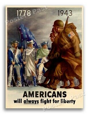 $11.95 • Buy 1943 Americans Will Always Fight For Liberty Vintage Style WW2 Poster - 18x24