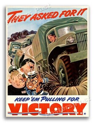 """$11.95 • Buy """"They Asked For It"""" 1942 Vintage Style WW2 War Truck Poster - 18x24"""