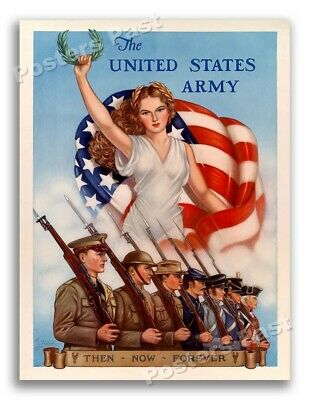 """$11.95 • Buy 1940 """"US Army - Then Now Forever"""" Vintage Style WW2 Recruiting Poster - 18x24"""