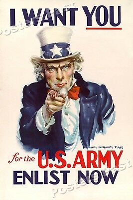 """$11.95 • Buy 1940 """"I Want You For The U.S. Army"""" Vintage Style WW2 Poster - 16x24"""