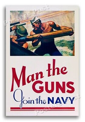 """$11.95 • Buy """"Man The Guns - Join The Navy"""" 1942 Vintage Style World War 2 Poster - 16x24"""