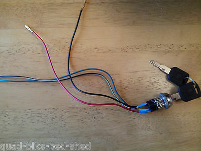 AU17.96 • Buy 4 Wire 6v 12v Mini Midi Ignition Barrel 2 Keys On/off Electric Bike Scooter Quad