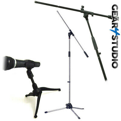 Microphone Mic Stand Desktop And Floor Standing Black/Silver Mic Clips Holder  • 23.99£