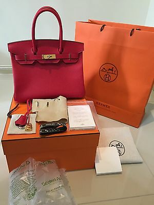 AU24900 • Buy Hermes Birkin 30 New Auth Rouge Casaque Hot Red Epsom Leather Gold Hardware 2016