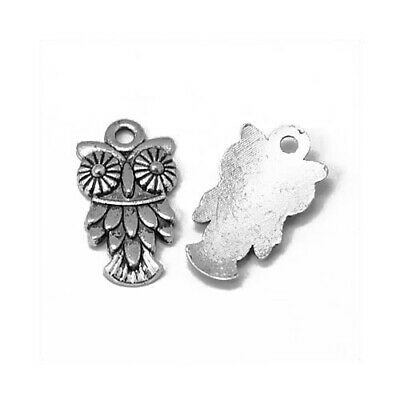 Owl Charm/Pendant Tibetan Antique Silver 20mm  15 Charms Accessory DIY Jewellery • 2.69£