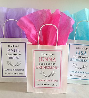 Personalised Vintage White Paper Favour Bags/Gift/Wedding/Hen/Christening/Party • 0.99£
