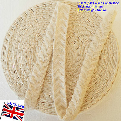 £5.99 • Buy 15 MM 100% Cotton Tape 2mm Thick Webbing Belt Fabric Strap DIY CRAFT SEWING-V P