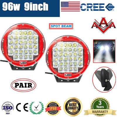 AU134.95 • Buy Pair 9inch 96w CREE LED Driving Light Round Spotlight Bar Offroad 4WD Lamp 185W