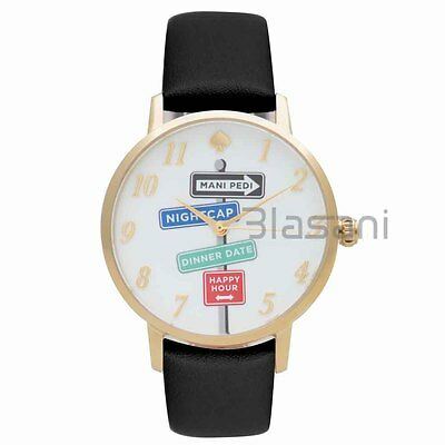 $ CDN87.91 • Buy Kate Spade Original KSW1128 Women's Metro Street Signs Black Leather Watch 34mm