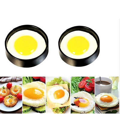 2 Non Stick Perfect Circle Fried Poach Egg Rings Mould Frying  • 3.25£