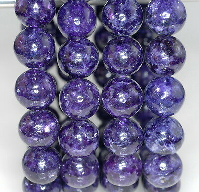 $11.99 • Buy 11-12mm Natural Lepidolite Gemstone Grade Aaa Purple Round 11-12mm Loose Beads 7