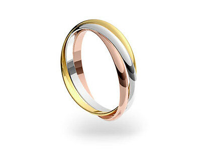 AU389.31 • Buy 9ct 3 Colour Gold 2mm Russian Wedding Ring. Sizes From F-Z