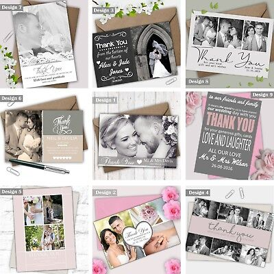 £1.99 • Buy Personalised Wedding Photo Thank You Cards FREE Envelopes Choice Of Colour