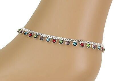 £4.98 • Buy Multi Colour Diamonte Anklet Chain -  Wedding Adult Payal - Bollywood Foot Chain